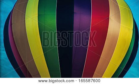 Close-up of a very colorful hot air balloon in 2016 Bristol Ballon Festival