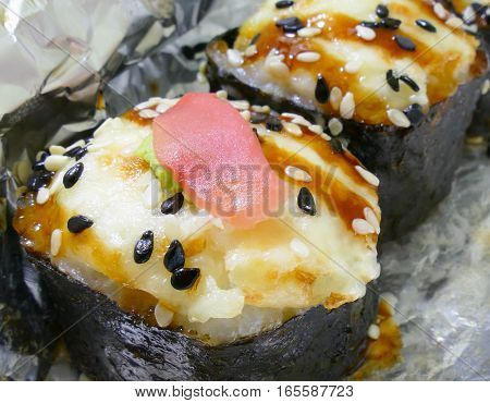Baked rolls with crab, cheese, vegetables and special sauce, delicious , macro shoot