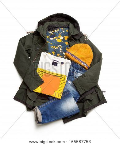 A set of jackets, jeans, sweatshirts, caps and T-shirts