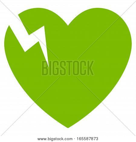Heart Crack vector icon. Flat eco green symbol. Pictogram is isolated on a white background. Designed for web and software interfaces.