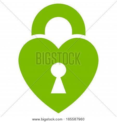 Heart Lock vector icon. Flat eco green symbol. Pictogram is isolated on a white background. Designed for web and software interfaces.