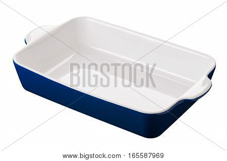 Empty rectangle baking dish for gratin casserole cut out