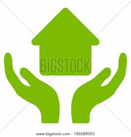 Home Care Hands vector icon. Flat eco green symbol. Pictogram is isolated on a white background. Designed for web and software interfaces.