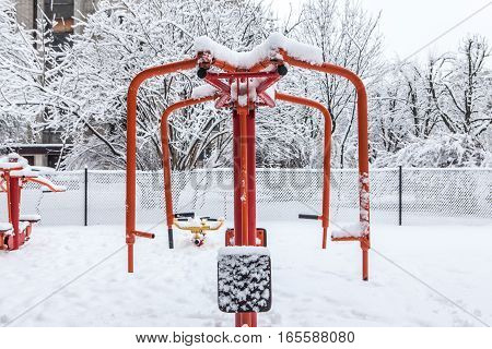 Outdoor Workout Gym With Training Gear In Winter