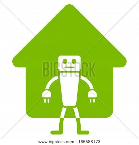 Home Robot vector icon. Flat eco green symbol. Pictogram is isolated on a white background. Designed for web and software interfaces.
