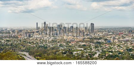 Panoramic view of business district and surrounding areas of Brisbane in Australia