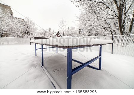 Outdoor Ping-pong Table In Winter