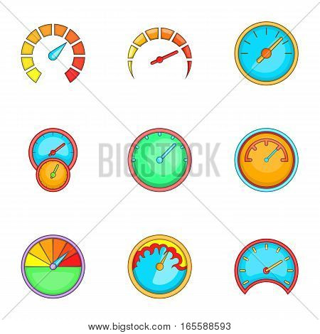 Speedometer or gauge icons set. Cartoon illustration of 9 speedometer or gauge vector icons for web