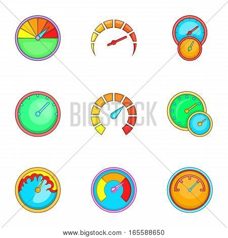 Measurement symbol icons set. Cartoon illustration of 9 measurement symbol vector icons for web