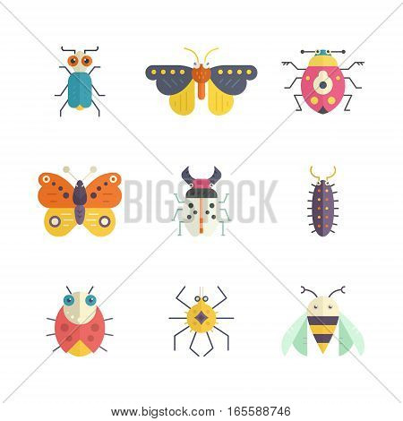Vector collection of insects made in modern flat style. Colorful bugs for your design. Nature elements made in vector.