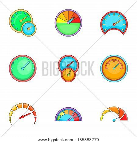Circular gauge icons set. Cartoon illustration of 9 circular gauge vector icons for web