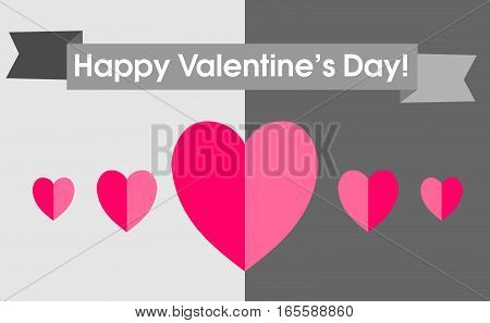 Card Valentine's Day in a trending flat design. Pink hearts and greetings in the ribbon above them on a gray background. Illustration of love.