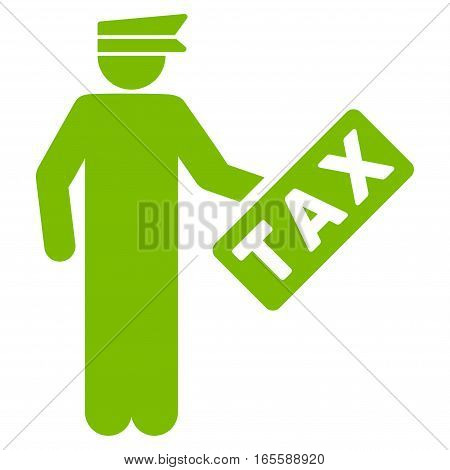Tax Officer vector icon. Flat eco green symbol. Pictogram is isolated on a white background. Designed for web and software interfaces.