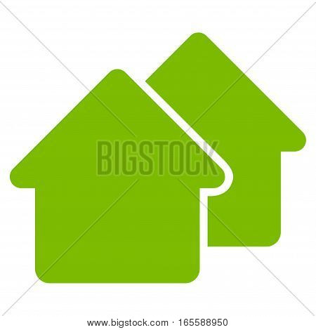 Village vector icon. Flat eco green symbol. Pictogram is isolated on a white background. Designed for web and software interfaces.