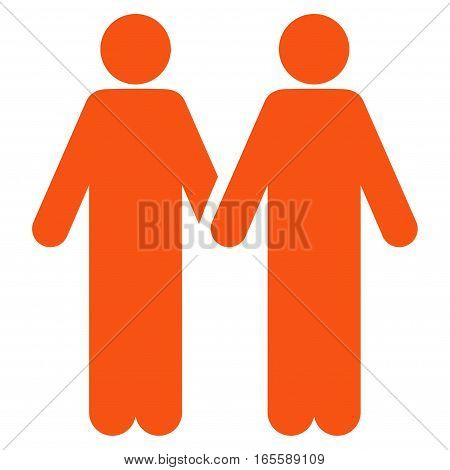 Adult Friends vector icon. Flat orange symbol. Pictogram is isolated on a white background. Designed for web and software interfaces.