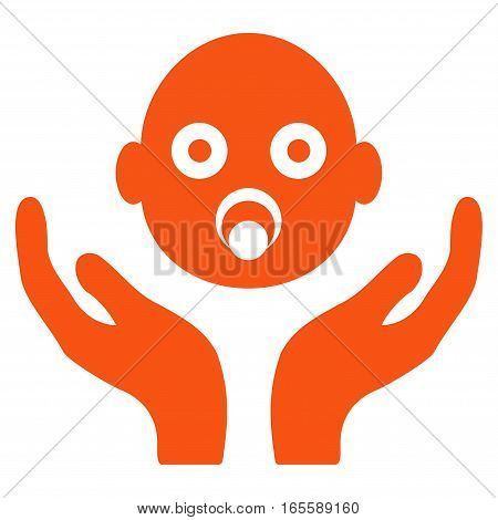 Baby Care Hands vector icon. Flat orange symbol. Pictogram is isolated on a white background. Designed for web and software interfaces.