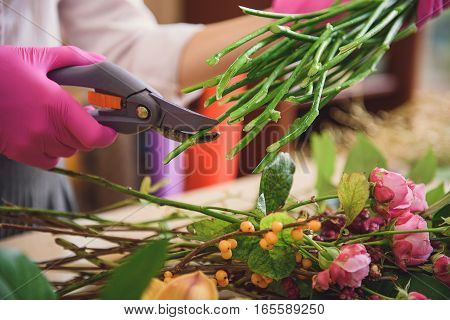 Close up of female hands cutting ends of flowers by scissors at workshop