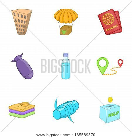 Refugee icons set. Cartoon illustration of 9 refugee vector icons for web