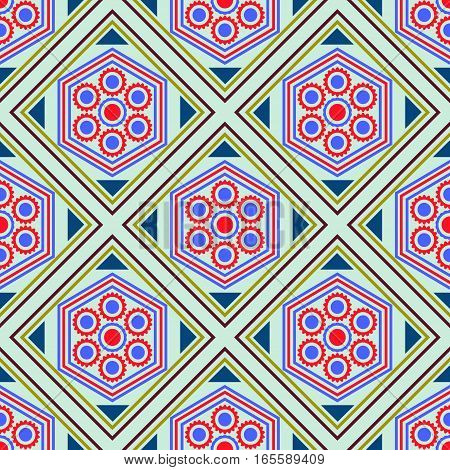 Seamless geometric pattern, red blue diamond with a flower on a blue background, vector illustration