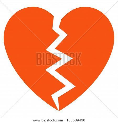Broken Heart vector icon. Flat orange symbol. Pictogram is isolated on a white background. Designed for web and software interfaces.