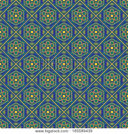 Seamless geometric pattern, yellow green diamond on a blue background, vector illustration