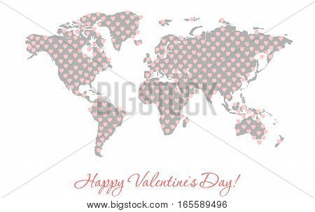 Silhouette of a world map with texture in the form of pink hearts. Love on the planet. Simple flat vector illustration Valentine's Day.