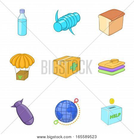War victims icons set. Cartoon illustration of 9 war victims vector icons for web