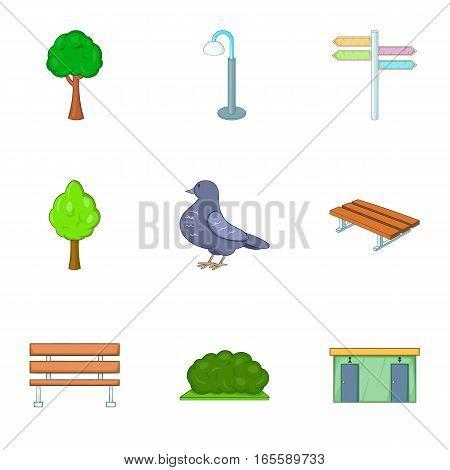 Urban outdoor decor icons set. Cartoon illustration of 9 urban outdoor decor vector icons for web