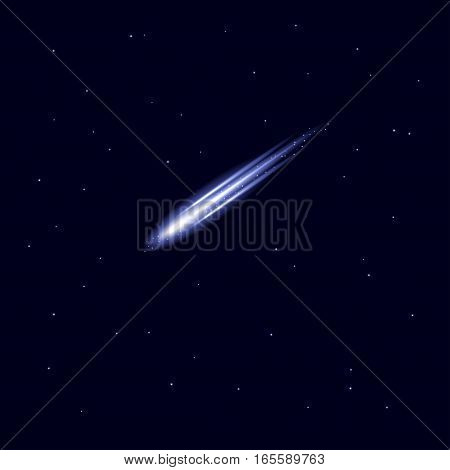 Vector comet, meteor or asteroid shooting isolated on blue background