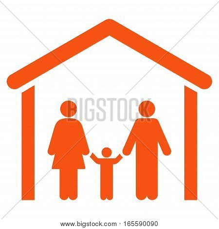 Family Cabin vector icon. Flat orange symbol. Pictogram is isolated on a white background. Designed for web and software interfaces.