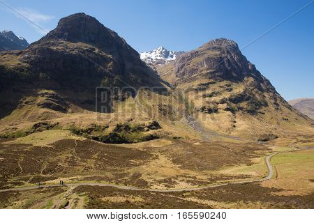 Scottish tourist attraction Glencoe Scotland UK with view of mountains in Lochaber Scottish Highlands