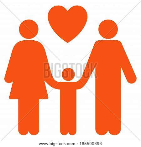 Family Love vector icon. Flat orange symbol. Pictogram is isolated on a white background. Designed for web and software interfaces.