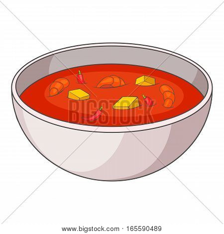 Tom yum thai soup icon. Cartoon illustration of tom yum thai soup vector icon for web design