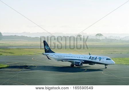 Curitiba, PR, Brazil - December 26, 2016: Azul Airlines plane preparing to stop at Internacional Afonso Pena airport in Curitiba.