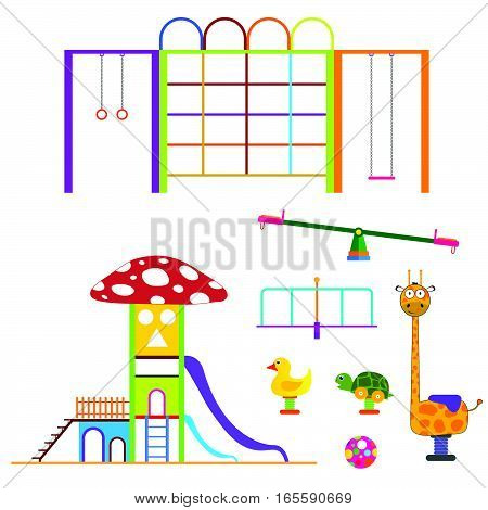 Kids Playground Set Color Design Illustration On White Background
