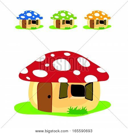 Mushroom House Cartoon Set Color Design Illustration