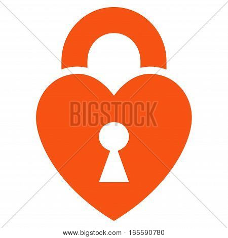 Heart Lock vector icon. Flat orange symbol. Pictogram is isolated on a white background. Designed for web and software interfaces.