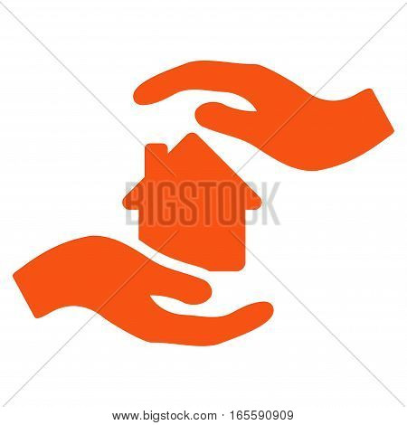 House Care Hands vector icon. Flat orange symbol. Pictogram is isolated on a white background. Designed for web and software interfaces.