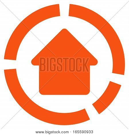 House Diagram vector icon. Flat orange symbol. Pictogram is isolated on a white background. Designed for web and software interfaces.