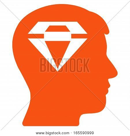Human Head With Diamond vector icon. Flat orange symbol. Pictogram is isolated on a white background. Designed for web and software interfaces.