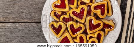 Cherry Hearts. Shortbread Cookies with Cherry Filling. Selective focus.
