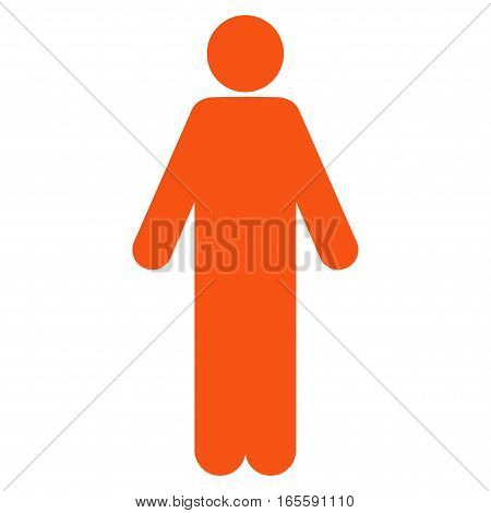 Male vector icon. Flat orange symbol. Pictogram is isolated on a white background. Designed for web and software interfaces.
