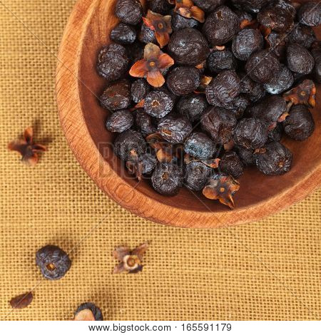Dried Diospyros lotus or Wild Persimmon. Selective focus.
