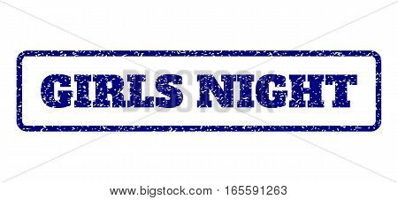Navy Blue rubber seal stamp with Girls Night text. Vector caption inside rounded rectangular banner. Grunge design and dirty texture for watermark labels. Horisontal emblem on a white background.