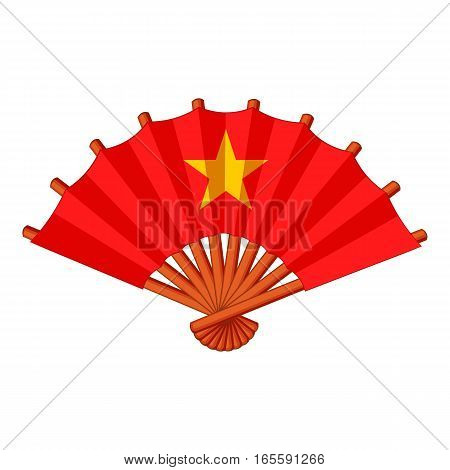 Fan with gold star icon. Cartoon illustration of fan with gold star vector icon for web design