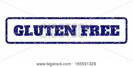Navy Blue rubber seal stamp with Gluten Free text. Vector caption inside rounded rectangular frame. Grunge design and dust texture for watermark labels. Horisontal sign on a white background.