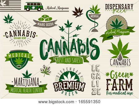 Medical marijuana product label and logo graphic template. Cannabis organic hemp. Green farm. Easy editable for Your design
