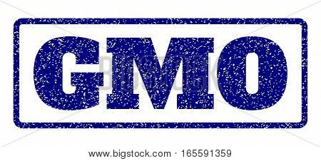 Navy Blue rubber seal stamp with Gmo text. Vector message inside rounded rectangular banner. Grunge design and scratched texture for watermark labels. Horisontal sticker on a white background.
