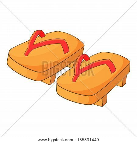 Japanese traditional geta footwear icon. Cartoon illustration of japanese geta footwear vector icon for web design
