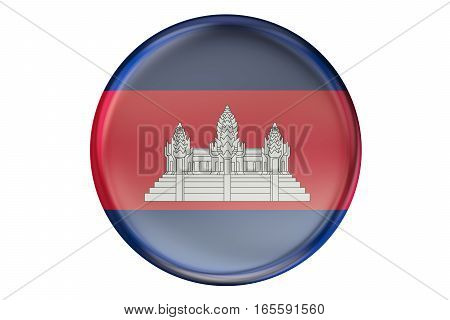 Badge with flag of Cambodia 3D rendering isolated on white background